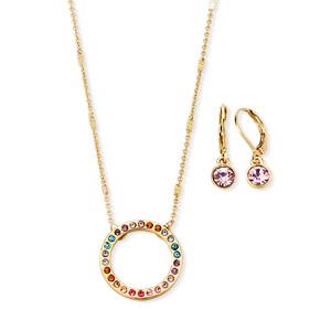 Estuche Collar + Aretes Rainbow Gems