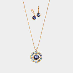 Collar + Aretes Blue Cristal