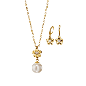 Estuche Collar + Aretes Crystal Pearls